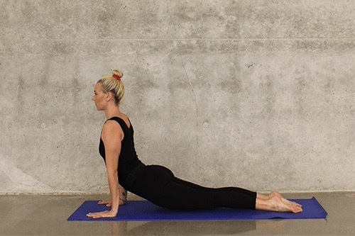 woman, yoga pose, cobra pose