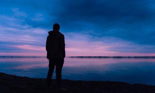 man, sad, contemplating, lake