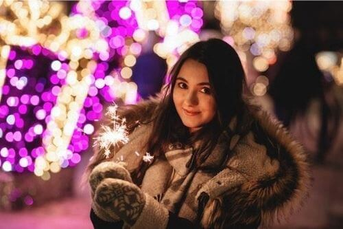 Girl at Christmas with Sparkler
