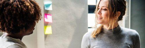 woman talks creates impression to college