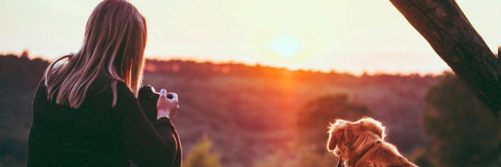 woman sits beside little puppy facing backward holding camera watching beautiful sunset