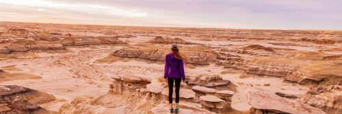 woman facing backward stands on rock in desert in cloudy sky