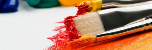 painting brushes red yellow color