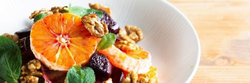 healthy breakfast bowl coriander orange walnut
