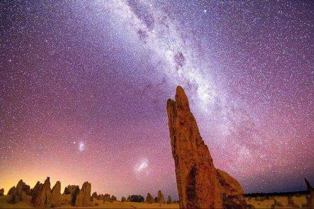 rocks stars purple sunset sky